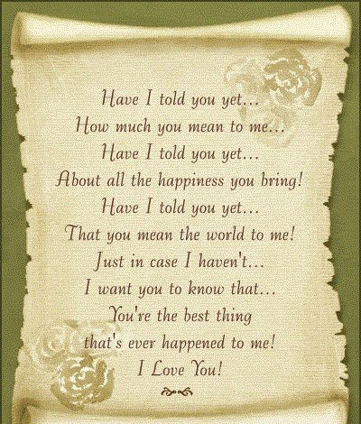 To what my wife me poem means 25 Love