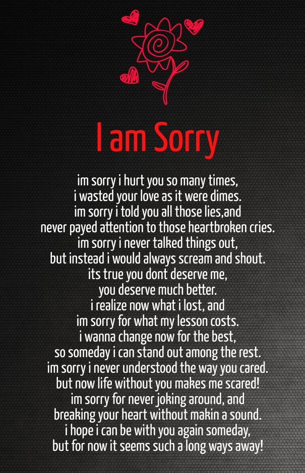 And apology poems of regret 28 Apology