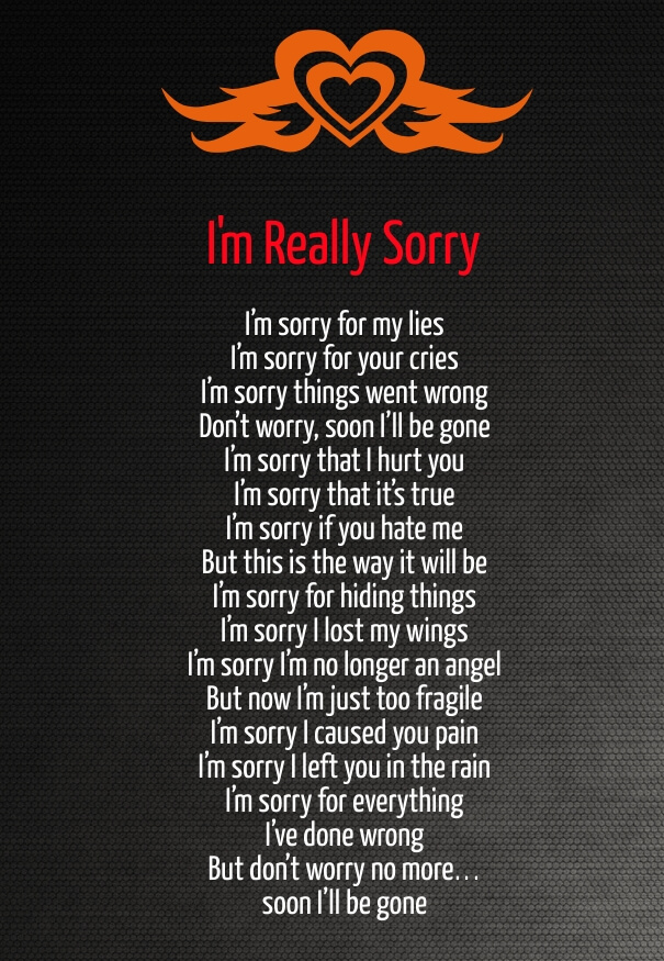 Poems romantic apology Famous sorry