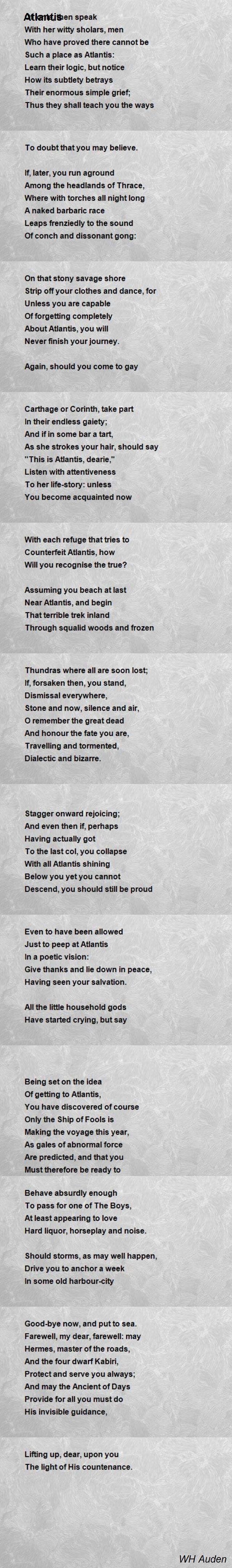 Atlantis Poem by Wystan Hugh Auden - Poem Hunter